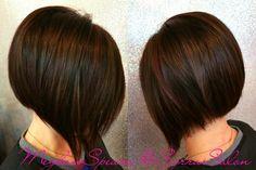 Mocha Brown with red highlights  bob haircut