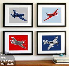 kids wall art - airplane nursery art - WW 2, vintage airplanes -, art for boys childrens wall art, boys nursery art on Etsy, $45.00