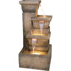 Bond Manufacturing Decorative Garden Fountain — Ashboro Design, 16 3/4in.L x 16 3/4in.W x 32 7/8in.H, Model# Y98881