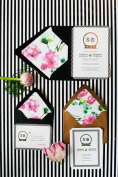 Modern stripes + florals wedding inspiration: http://www.stylemepretty.com/canada-weddings/2014/06/09/modern-stripes-florals-wedding-inspiration/ | Photography: http://iamrachelpeters.com/