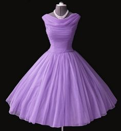 lilac chiffon 50s dress