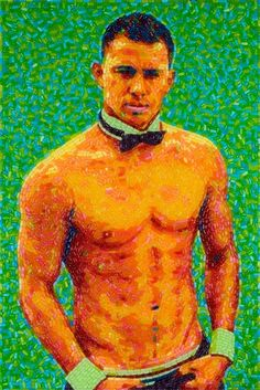 Check out the detail on this life-size mosaic portrait of Channing Tatum from San Francisco-based pop artist Jason Mecier! The Magic Mike-inspired work of art (made with 5000 Mike and Ike's Red Rageous, Berry Blast, Lemonade Blends, and Tangy Twisters candies) took over 50 hours to create.