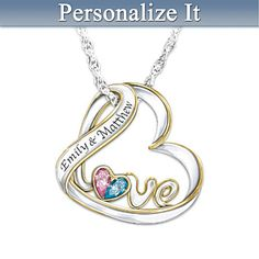 Heart Shaped Love Necklace with couples names and birthstones...adorable!