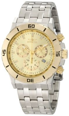 Invicta Mens 10468 Specialty Chronograph Gold Dial Stainless Steel Watch >>> Read more reviews of the product by visiting the link on the image.