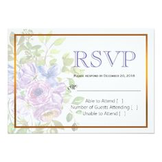 Spring Flower Purple Floral Wedding RSVP Card - wedding invitations cards custom invitation card design marriage party