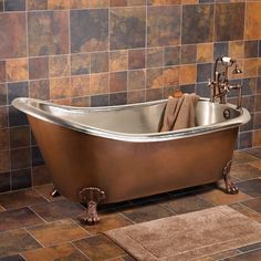 """67"""" Donnelly Smooth Copper Slipper Tub with Nickel Interior on Claw Feet"""