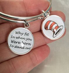 Dr Seuss bracelet- why fit in when you were born to stand out cabochon bracelet by SugarMeUpTwo on Etsy https://www.etsy.com/listing/484641162/dr-seuss-bracelet-why-fit-in-when-you