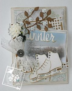 Cards of Joy Diy And Crafts, Paper Crafts, 3d Cards, Christmas Past, Vintage Christmas Cards, Vintage Shabby Chic, Halloween Cards, Skates, Card Making