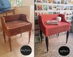 """Vintage nightstand repaired and painted at the """"paint bar"""". #apronstrings #apronstringswash for the drawer #curio #missmustardseedsmilkpaint"""