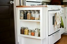 End of cabinet storage idea by stove if you have the space