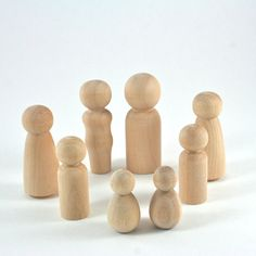 { d e t a i l s } ` Create your own family with this 8 Person Family Set of wooden peg dolls. ` This set includes 2 parents and 6 child-size dolls - 2 Sisters, 2 Brothers, 2 Babies ` This peg doll mea