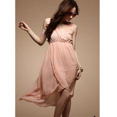 Pink Ladies Fashion Lace Back Splicing Chiffon Dresses One Size... ($14) via Polyvore