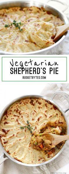 Vegetarian Shepherd's Pie - BudgetBytes.com Use cauliflower instead of potatoes