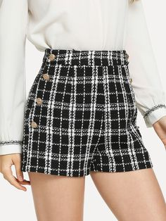 Elegant Zipper and Double Button Plaid Straight Leg Regular Zipper Fly Mid Waist Black and White Double Breasted Tweed Shorts Classic Outfits, Short Outfits, Spring Outfits, Cool Outfits, Fashion Outfits, Tweed Shorts, Type Of Pants, Double Breasted, Pants For Women