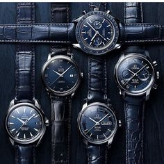 All blue for the night!! Amazing @omega blue set. Which one would you pick? by watchfonder #panerai