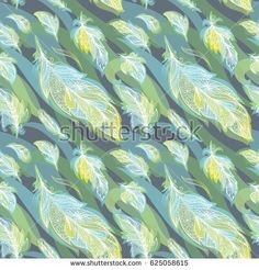 Vector Feather Pattern | Ornamental boho seamless background in greenery spring colors for textile and paper design