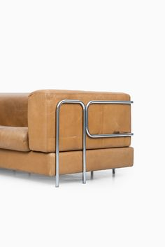 Anonymous; Leather and Chromed Tubular Metal Sofa Attributed to De Sede, c1970.