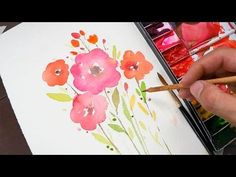 Easy Watercolor Sunset Tutorial for Beginners Step By Step Watercolor Paintings For Beginners, Watercolor Video, Watercolor Projects, Beginner Painting, Watercolor Cards, Watercolor Techniques, Simple Watercolor, Watercolor Artists, Watercolour Painting