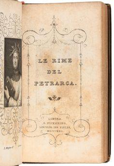 Title page and frontispiece for Le Rime del Petrarca - 1822 - Price Estimate: $200 - $300 | PBA Galleries