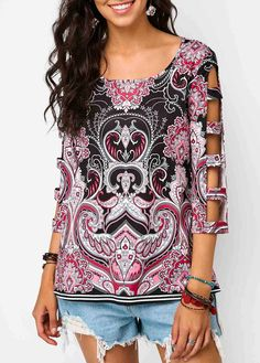 9f33f5ee0d2 Scoop Neck Ladder Cutout Sleeve Printed Blouse Shirts