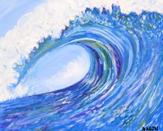 Set of 2 Large Wave Paintings by AshBaron on Etsy