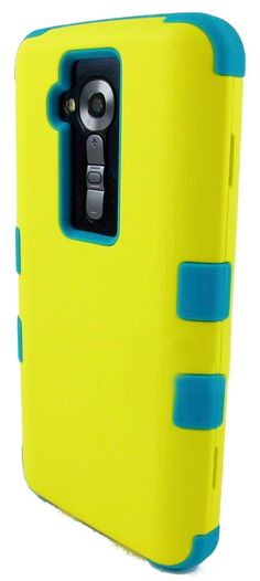 Amazon.com: myLife Neon Yellow + Azure Blue {Impact Design} 3 Piece Neo Hybrid Case for the for the LG G2 Smartphone (External Rubberized Sn...