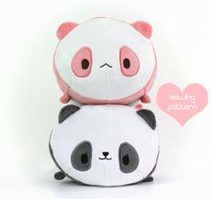 PDF sewing pattern Panda Bear Roll plush stacking by TeacupLion