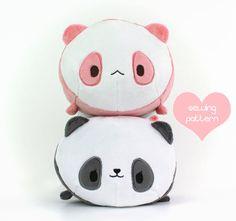 "PDF Panda Roll loaf plush sewing pattern - kawaii 12"" DIY stacking bear plush - cute stuffed animal soft toy"