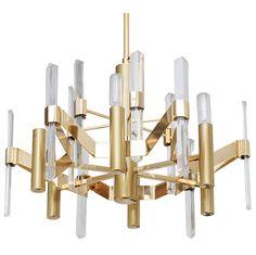 Sciolari  Brass and Lucite Chandelier