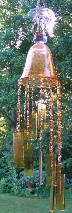 Beaded and Stained Glass Art Wind Chime Brown by Saltairartglass, $25.00  I just LOVE glass wind chimes!!! lk