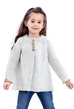 Saifeier PJ Little Girls Crewneck Cardigans Solid Bow Knit Sweaters Button Long Sleeves Coats Baby Cardigan Knitting Pattern Free, Kids Knitting Patterns, Knitting For Kids, Baby Girl Cardigans, Knit Baby Sweaters, Toddler Cardigan, Quick Knits, Jacket Pattern, Baby Girls
