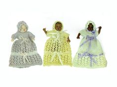 PDF Dolls House Miniature 12th Scale Victorian Baby 3 Lacy Christening Dresses & Bonnets Knitting Pattern....lookx
