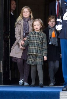 (L-R) Crown Princess Catharina Amalia, Princess Ariane and Princess Alexia of the Netherlands leave the Royal Palace the day after the investiture ceremony of the new Dutch King in Amsterdam