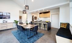 Dining Inspiration | Blue and Grey | Large Open Plan Space | Raked Ceiling Raked Ceiling, Dining Room Inspiration, Open Plan, Dining Table, Layout, Homes, Space, Interior Design, Grey