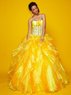 Colorful Quince Dresses - Yellow Dress With Ruffled Skirt And Jeweled Bodice