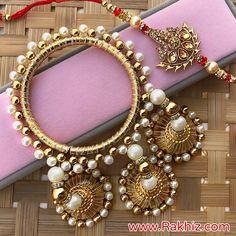 Amazing Gota Pearl Crafted Dangeler Bangle Rakhi For Bhabhi Silk Thread Bangles Design, Thread Jewellery, Handmade Rakhi Designs, Rakhi Making, Pearl Crafts, Rakhi Online, Crochet Wreath, Antique Jewellery Designs, Diwali Diya