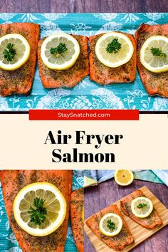 This Easy Air Fryer Salmon recipe is quick to make using fresh or frozen fish. This post includes all of the tips on how to make tender, juicy, and perfect salmon. Easy Salmon Recipes, Seafood Recipes, Easy Weeknight Dinners, Quick Easy Meals, Delicious Dinner Recipes, Yummy Food, Eat Healthy, Healthy Recipes, Air Fry Recipes