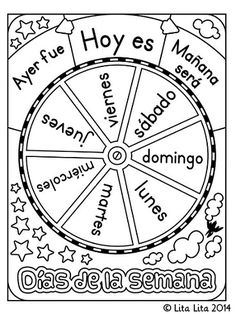 Lita Lita: FREE Days of the Week Wheel in English and Spanish for students to individually color and use Spanish Teacher, Teaching Spanish, Teaching English, Preschool Spanish, Spanish Vocabulary, Spanish Lessons, English Lessons, Learn English, Learn Spanish
