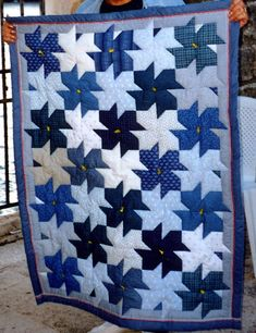A beautiful blue & white quilt
