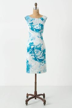 """Crystalline blues swirl like agate whirlpools through this cutout-back, cotton-silk dress from Maeve. - Button back - Side zip  - Cotton, silk; cotton lining - Dry clean - Regular: 38.5""""L - Petite: 36""""L  - Imported"""