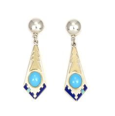 Sterling Silver and 14k Gold Inlaid Earrings