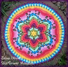 THE STARFLOWER MANDALA PATTERN  Pattern Terms:  US  Yarn:  Stylecraft Special DK for the squares and flower centres;      Hook:  3.50mm  Siz...