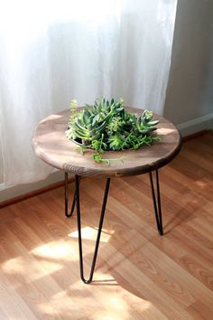 Succulent Side Table Planter // Handmade with Planter Insert // Steel Hairpin Legs, handmade table, modern round table, wood side table