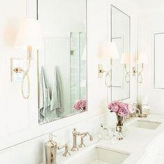 Waterworks Blue Note Sconces in Master Bathroom - Transitional - Bathroom Rustic Bathroom Vanities, Boho Bathroom, Rustic Bathrooms, White Bathroom, Modern Bathroom, Small Bathrooms, Elegant Bathroom Decor, Luxury Bathrooms, Master Bathrooms