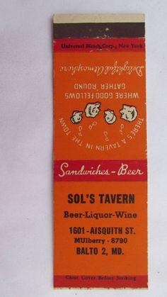 Sol's Tavern - Baltimore, Maryland Restaurant 20 Strike Matchbook Match Cover MD