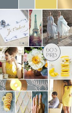 Inspiration: Sixties Paris Inspired Mood Board. Bridal and wedding inspiration. Yellow, pale greys and blues. 60's Parisienne.