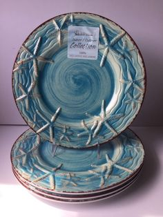 Indoor Outdoor Collection 4 STARFISH MELAMINE DINNER PLATE NEW Blue Coastal | eBay & Artistic Accents 12 Pc Melamine Dinnerware Set Dinner Tropical ...