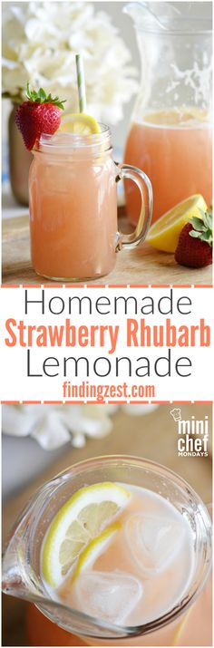 Homemade Strawberry Rhubarb Lemonade Make this refreshing strawberry rhubarb lemonade as a way to cool off this summer! This is a fun unique twist on traditional lemonade Click the image for more info. Yummy Smoothies, Smoothie Drinks, Smoothie Recipes, Summer Drinks, Fun Drinks, Beverages, Cocktail Drinks, Cocktails, Healthy Cooking
