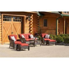 1300. Olefin, welted coushins, steel frame.. Hanover Strathmere 6-Piece All-Weather Wicker Patio Set with Crimson Red Cushions-STRATHMERE6PCRED - The Home Depot