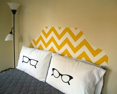 http://www.decoist.com/2012-03-20/25-gorgeous-diy-headboard-projects/#    This is fabric, but it could be done in paint too.